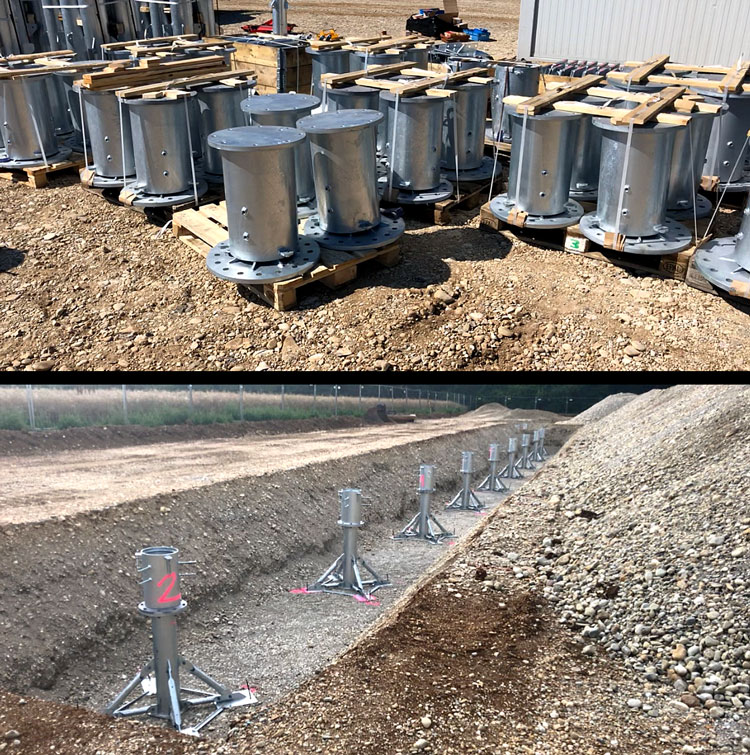 BFtec supplies the safe, flexible foundation system in the form of the concreteless STEELROOTS® foundations