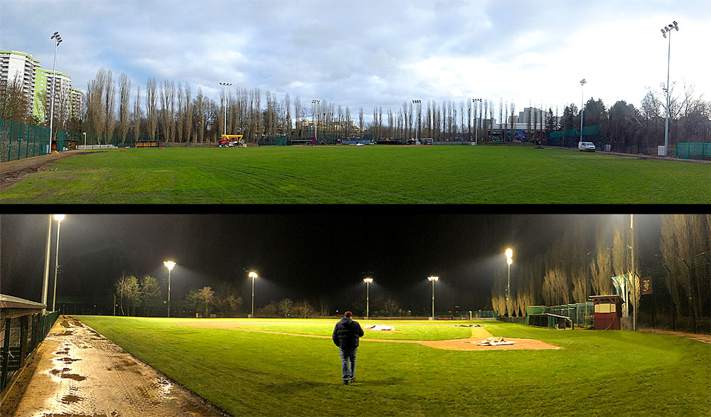 The complete installation of the eight floodlights for the baseball park of the Berlin Flamingos.