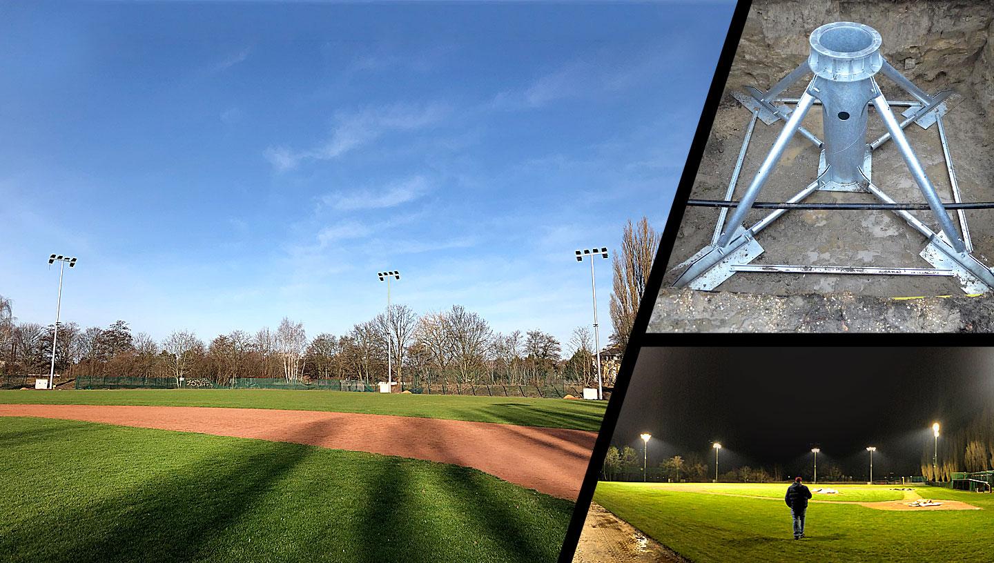 Floodlights for the baseball park of the Berlin Flamingos, based on STEELROOTS®.
